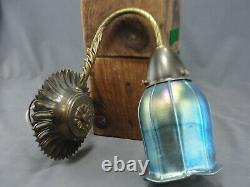 Vintage Moe Light Wall Sconce Light Aurene Blue Art Glass Squash Blossom Shade