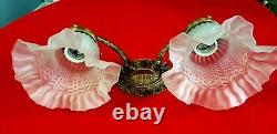 Vintage Ornate Solid Cast Brass Double Arm Electric Wall Lamp, Made in Spain