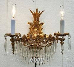 Vintage PAIR Brass Crystal Wall Sconces 4 Lights on Each Sconce EUC