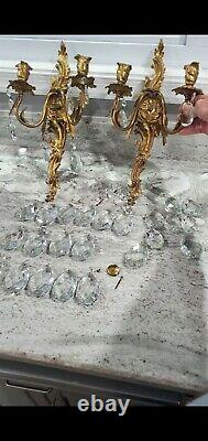 Vintage PAIR French Bronze Brass Crystal Victorian Wall Sconces