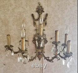 Vintage PAIR French Bronze Brass Crystal Wall Sconce 7 Light Candelabras