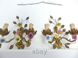 Vintage PAIR Wall Light Sconces Bronze Brass Porcelain Flowers signed Lucien GAU