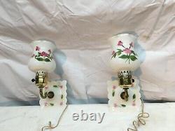 Vintage Painted Milk Glass Wall Sconce Ornate Vanity Light Pair