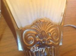 Vintage Pair Art Deco Glass Slip Shade & Metal Electric Wall Sconces Lights