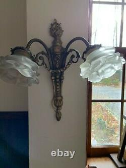 Vintage Pair Brass Wall Electric Light Fixtures /sconce Glass Shades