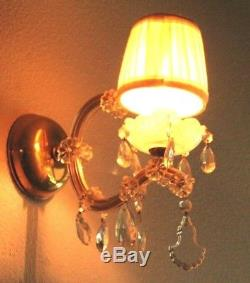 Vintage Pair Electric Brass & Crystal Wall Sconces with Shade