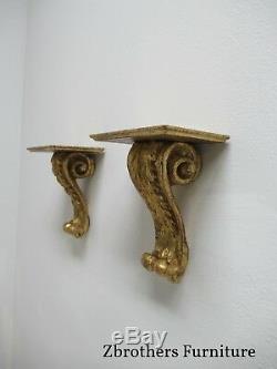 Vintage Pair Florentia Italian Regency Gold Gilt Hanging Wall shelf Sconces