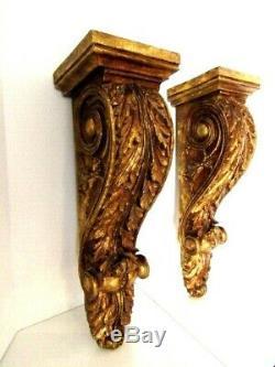 Vintage Pair Florentina Regency Gold Gilt Hanging Large Wall shelf Sconces 24