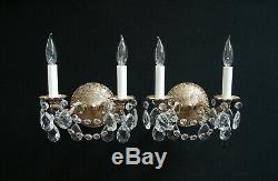 Vintage Pair French Brass Crystals Wall SCONCES 2 lights each