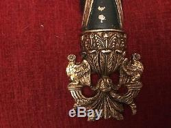 Vintage Pair French Directoire Bronze Brass Torch Bird 3 Light Wall Sconces