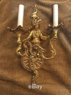 Vintage Pair Gilt Brass Asian Oriental French Figural Rococo Wall Sconces Lamps