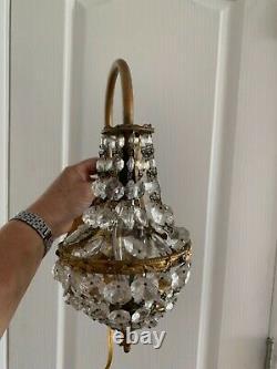 Vintage Pair Hollywood Regency Crystal Prism Wall Sconces Electric