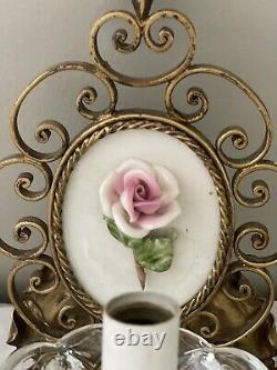 Vintage Pair Italian Florentine Gilt Metal Porcelain Rose French Wall Sconces