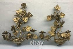 Vintage Pair Italian Tole Gilt Grape Vine Double Candle Holders Wall Sconce 14