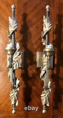 Vintage Pair Large 28 Electric Wall Sconces Ornate Leaves Fancy Gothic Formal