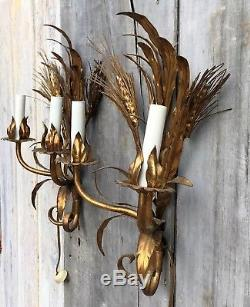 Vintage Pair Mid-Century Hollywood Regency Wheat Sheaf Gilt Metal Wall Sconces