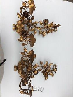 Vintage Pair Of French Country Gold Tole Wall Candle Holding Sconces