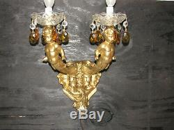 Vintage Pair Of Wall Sconce Lights, Cherub Angels Candelabra, Crystal Prisms