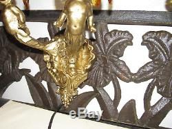 Vintage Pair Of Wall Sconce Lights, Cherub Angels Candelabra, Crystal Prisms