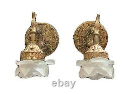 Vintage Pair Sherle Wagner Brass Koi Fish Dolphin Wall Sconce Glass Flower Petal