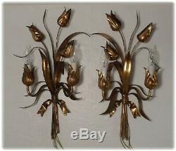 Vintage Pair Tall Italian Florentine Gilded Flower Bouquet Tole Wall Sconces
