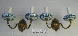 Vintage Pair Wall Lamp Sconce 2 Lights Delft Holland Porcelain Blue White Vtg