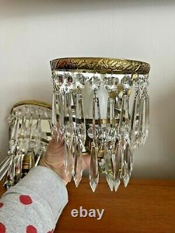 Vintage Pair of Brass Glass Crystal Wall Lights Sconce With Mirror Back Quality