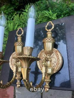 Vintage Pair of Brass/Glod Tone Traditional Wall Sconces with Shades