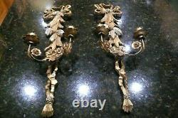 Vintage Pair of Hand Carved Wooden/Toleware Italian Gold Gilt Wall Sconces