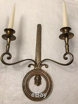 Vintage Pair of Pure Brass Wall Sconces, Candle holders 2arms 13H x10W