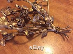 Vintage Palladio Italy Gold Wall Sconce Candelabra Metal Roses Regency Candle