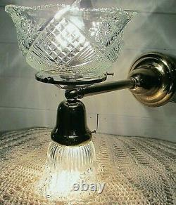 Vintage Reproduction Gas & Electric Brass Wall Sconce, Matching Victorian Shades