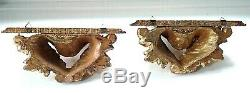 Vintage Small Pair of Carved Italian Wood Rococo Gold Gilt Wall Shelf Sconces