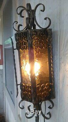 Vintage Spanish Revival Mission Wall Sconce Ornate Panels Wrought Iron Filigree