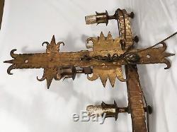 Vintage Spanish Revival Wrought Iron Sconce Old Gothic Castle Wall Light Fixture