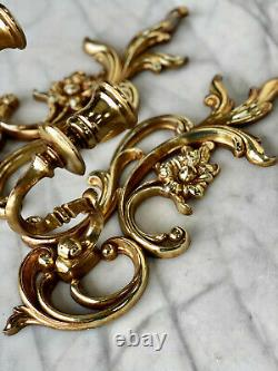 Vintage SyrocoWood French Rococo Floral Gold Candle Wall Sconces a Pair