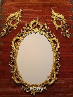 Vintage Syroco Goldtone Wall Mirror and Candle Sconces Set #4131 EUC USA Made