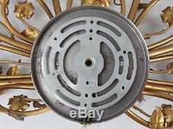 Vintage Tole 29x14 Gold Gilt Metal Candelabra Wall Sconce 6-Light Lamp