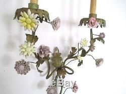 Vintage Tole Metal Green Gold Porcelain Mixed Flowers 2-light Wall Sconce