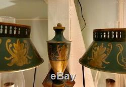 Vintage Tole Peinte Two Arm Wall Sconce Bouillotte Shade Glass Chimney