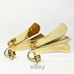 Vintage Tulip Brass Candle Wall Sconce Arvid Johansson Made In Sweden