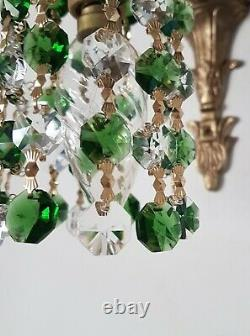 Vintage Wall Lights Down Lights Emerald Green & Clear Crystals Pair