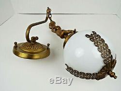 Vintage Wall Sconce Hanging Gold Cherub White Glass Globe Art Deco Nouveau Lamp