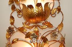 Vintage Wall Sconce Hollywood Regency Large Gold Tole Light
