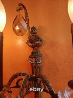 Vintage Wall Sconce light Brass 3arm electric, Spanish style