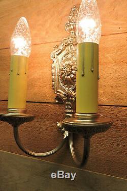 Vintage Wall Sconces Pair NeoClassic Regency Antique Light Fixtures 1940s Large