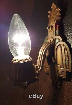 Vintage Wall Sconces Pair RIDDLE CO Antique Light Fixture Art Deco 1930