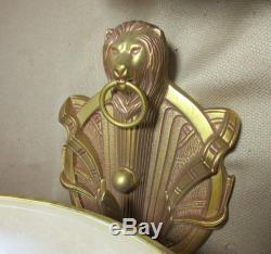 Vintage gold gilded bronze alabaster stone figural lion wall fixtures sconces