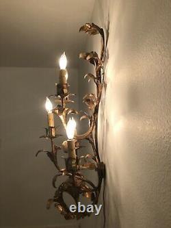 Vintage or Antique Large Gold Gilt 5-Light Wall Sconce Hollywood Regency