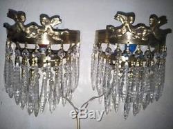 Vintage set of 2 wall sconces cherubs angels brass wall light